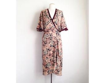 vintage floral dress rayon wrap dress floral midi dress 80s dresses women flutter sleeve 30 style 1930s spring tea dress