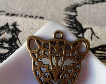 bronze tiger pendant filigree 26mm x 28mm