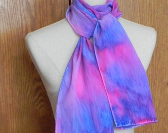 Long silk scarf hand dyed in shades of blue, pink, and lavender crepe de chine scarf # 580 ready to ship