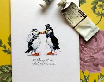 Puffin greeting card, watercolour