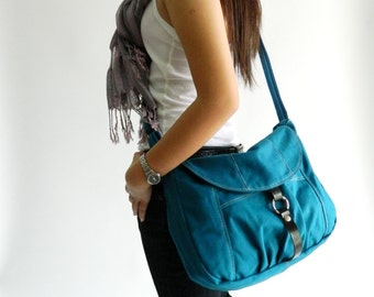 Teal Messenger bag with zipper , Women diaper bag,Travel cross body bag,purse,Women school bag,  Gift For her /Sale 25 %  no.103 CLAIRE