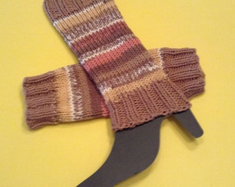 Brown Striped Boot Cuff/Stripe Boot Topper/Gift for Her/Teen Gift/Yoga Style/HandKnit Boot Cuff/Stripe Leg Warmer/Autumn Delight Boot Topper