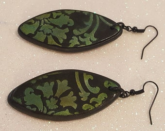 earrings polymer clay unique green party ornaments blach craft handmade gift idea for her