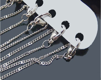 12  White Gold 1mm Local Ambossing chains with Lobster Clasp H16121