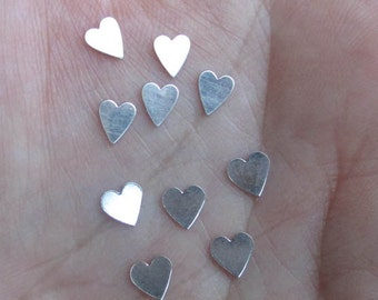 Tiny Sterling Silver Hearts, or tiny long hearts(10 or 20 hearts) - You choose which style and quantity