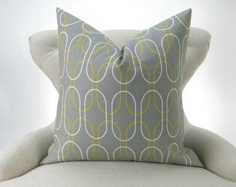 Gray Geometric Pillow Cover - up to 28x28 - Shiba Summerland Premier Prints -cushion throw couch euro sham citrine green yellow oval chain
