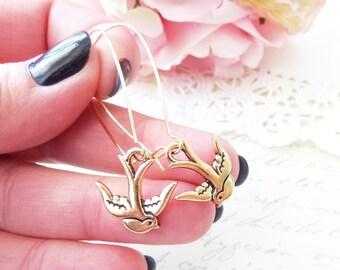 Gold Sparrow Earrings - Gold Swallow Earrings - Flying Bird Earrings - Dangle Earrings - Woodland