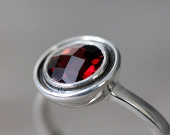 Garnet Ring in Sterling silver,   Gemstone Halo Ring, Birthstone for December, Size 7.5