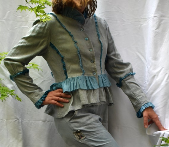 ruffles style teal Raw Edwardian lagenlook pale jacket jacket blue silk jacket silk tailored steampunk with soft periwinkle silk zzZqPxFRwr