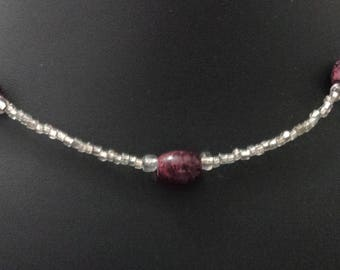 Handmade silver seed bead and maroon accent bead minimalist elegant necklace, gifts for her, everyday jewelry, dress up or down