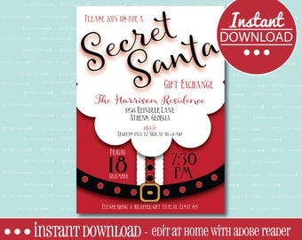 SECRET SANTA INVITATION, Editable, Printable, Christmas, Gift Exchange, Holiday, White Elephant, Party, Digital File, Instant Download