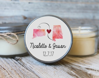 Set of 12 - 4 oz Soy Candle Wedding Favors - Love Travels - State Wedding Favors, Destination Wedding Favors