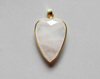 Rose Quartz Pendant with Electroplated Gold Edge - B1618