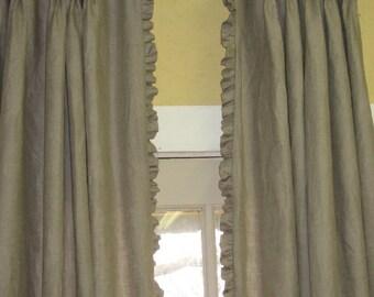 Linen Drapery Panel-Single Width Linen Drape-Ruffled Linen Drapery Panel-Pleated Linen Drapes with Ruffled Edge-Custom Linen Drapery Panels