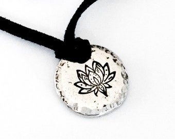 Lotus Pendant Yoga Necklace Peace Calm Meditation Serenity Symbol Hammered Pewter Pebble Adjustable Black Cord Stainless Steel Chain No Rust