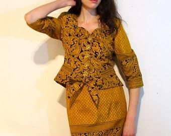 "1990's ""Christian Lacroix"" Golden Damask Skirt and Blazer Suit"