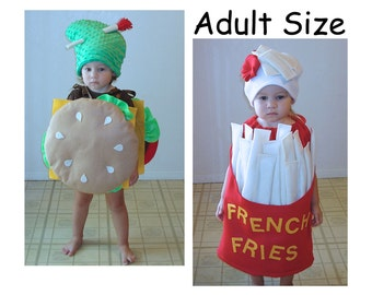 Adult Halloween Costumes Cheeseburger and Fries Couples Costumes French Fry Burger Hamburger Cheese McDonalds In n Out Jack in the Box  sc 1 st  Etsy & Twin Kids Halloween Costumes Hamburger Cheeseburger Cheese