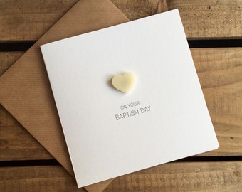 On Your Baptism Day with Ivory detachable Heart magnet keepsake