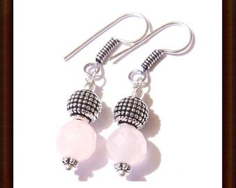 Rose Quartz dangle earrings and Sterling Silver 925 - 25mm - artisan