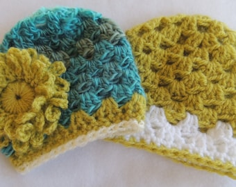 Pattern  - SUPER Fast Granny Style Crochet Baby Hat  in Three Sizes plus Flowers
