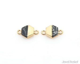 Black Turquoise Hexagon Connector in Gold / 8.0mm x 12.0mm / SBQG099-C (2pcs)