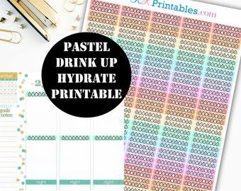 Pastel Drink Up Section Sticker Printable // Erin Condren Life Planner / Kikki / Plum Paper Planner / Hydrate Sticker / Planner Insert 00034