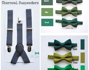Boys Bow Tie and Suspenders, Ring Bearer Outfit, Green Bow Tie Boys, Kids Adult Bow Tie Suspenders, Baby Boy Bow Tie, Boys Wedding Clothes