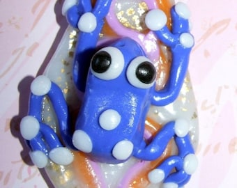 Necklace Melle blue frog, polymer