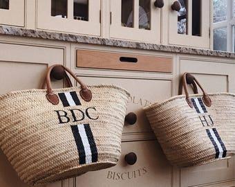 Personalized beach bag basket morrocan french market stripe monogram