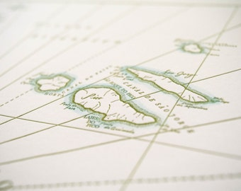 The Azores, Letterpress Printed Map