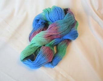 100% Superfine Alpaca - Hand Dyed/Painted - Green, Blue and Burgundy - 3 Ply Worsted Weight Yarn  - 200 Yds - 9-11 WPI
