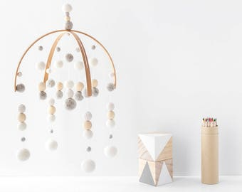 Neutral Crib Mobile. Cream and Grey Baby Mobile. Gender Neutral Felt Ball Mobile. Baby room mobile. Nursery Cot Mobile. Wooden Ball Mobile
