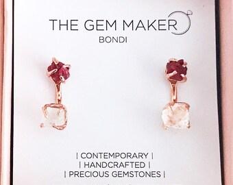 WEAR 2 WAYS. Ruby Rose Gold Gemstone Earrings. Handmade gemstone drop earrings. 40th wedding anniversary gift. July birthstone earrings.