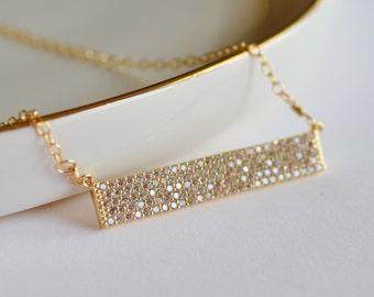 Gold Bar Layering Necklace with Pave-set CZs