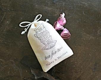 Wedding favor bags, set of 50 personalized cotton favor bags, Tea for Two, tea cups, custom names, bridal tea, wedding shower favor bags