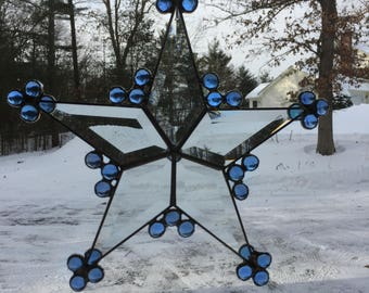 SUNCATCHER - Stained Glass 5 point Beveled Star