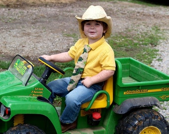 Little Boys, Tie  Tan, Green, Yellow Dressy, Casual Tractor Farm Equipment