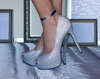 Something Blue Heart Ribbon Wedding Anklet for Bride