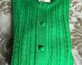 Vintage Green Cardigan, Button Up Sweater, Kelly Green Vintage Cardigan, Cable Knit Sweater, Vintage Cable Knit, Cute Sweater, Green Sweater
