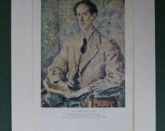 1947 Vintage Lord David Cecil Print By Augustus John - Portrait - Art Print - Vintage Print - Oil Painting - Welsh Artist - Matted Print
