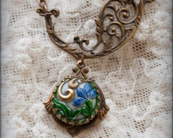 Peacocks and Paisley - short Paisley necklace with paisley scroll filigree and antique glass cabochon perhaps an old button, ooak