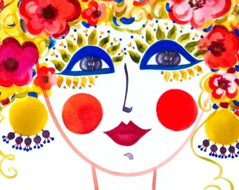 Meet Primavera! A Gypsy Garden Girl - Carmen Miranda Inspired Face - Print from Original Watercolor Painting by Suzanne MacCrone Rogers