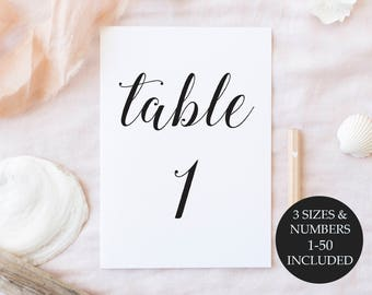 Wedding Signs, Wedding Table Numbers 1-50, Instant Download, Printable Table Numbers 1-50, Printable Wedding Signs, Table Numbers