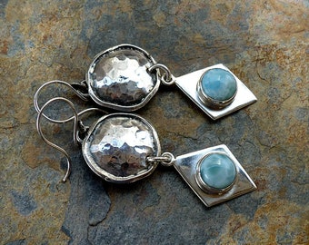 Big Earrings. Bold Rustic Hammered Sterling Silver Discs & Larimar on Silver Diamonds . Southwest Boho Tribal Style Jewelry