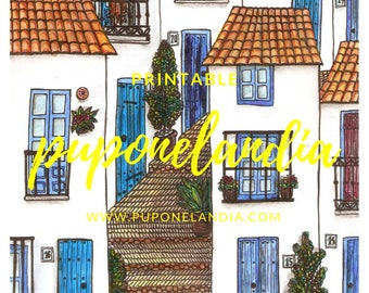 Printable Town illustration, Printable Art, Spanish Town, Digital art, Printable Houses sketch, Spanish illustration, Printable illustration