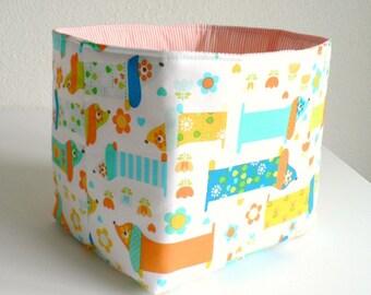 Storage basket Toy storage Diaper caddy Nursery storage Storage baskets Fabric bin Toy storage bin Daschunds Baby gift