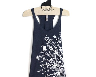 XL- Navy Racerback Tank with Flowering Branches Screen Print