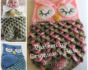 Pattern for Baby owl cocoon  and cap (English only)