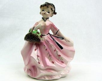 Vintage Girl Flower Vase | Pink Dress | Ceramic | Planter | Girl in Pink Dress with Basket