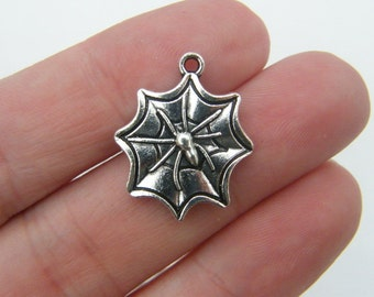 6 Spider in a spiderweb charms antique silver tone HC128